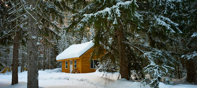 A small cottage in the middle of the woods that's covered in snow