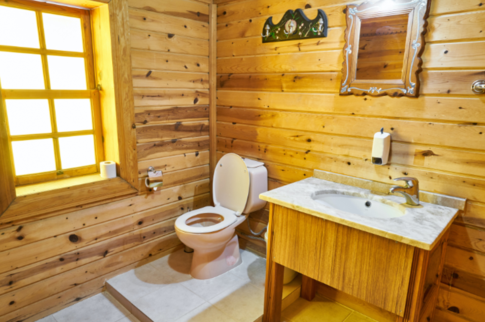 Toilet with wooden walls