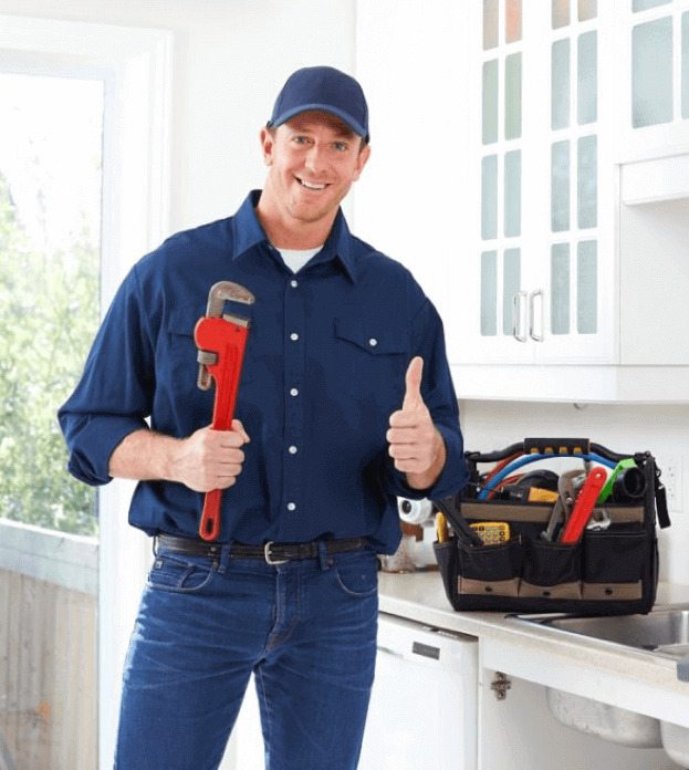 A plumber with equipments